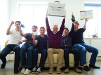 Das Gewinner-Team von &bdquo;LineMetrics&ldquo; v.l.n.r.: Reinhard Nowak, Michael Tempelmayr, Markus Fischer, DI (FH) Wolfgang Hafenscher, Alexander Minichmair und Thomas Pillmayr.